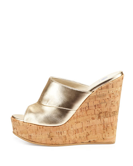 Sterling Metallic Slide-On Wedge, Gold