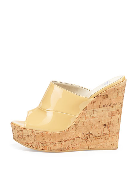 Sterling Patent Slide-On Wedge, Nude