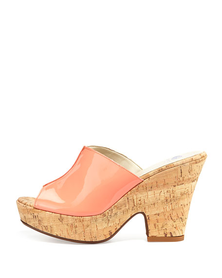 Amanda Patent Cork Slide-On Sandals, Coral