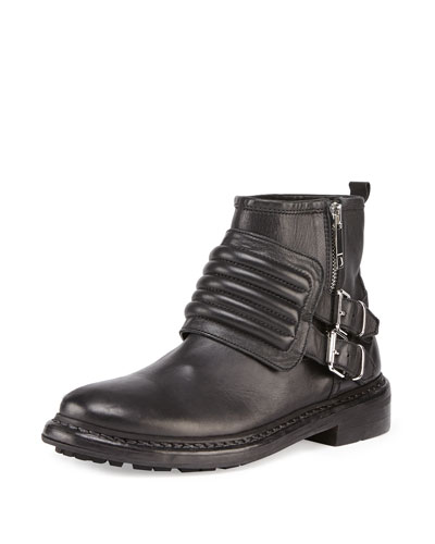 Burberry Leather Moto Ankle Boot, Black