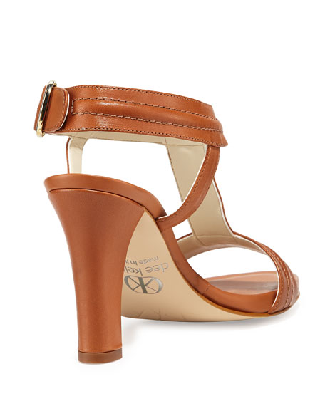 Eva Topstitched T-Strap Leather Sandal, Saddle