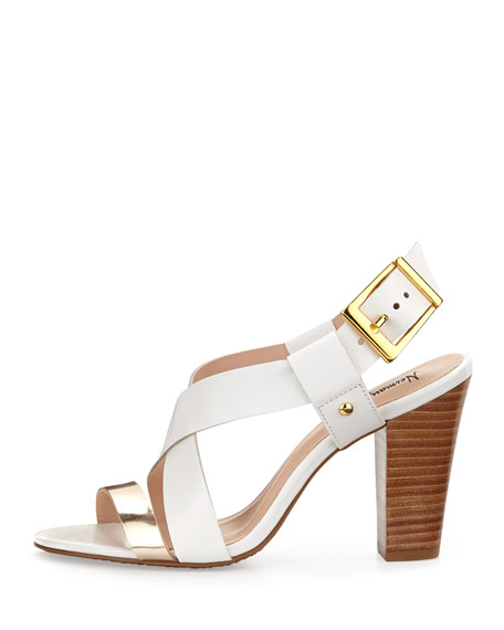 Victoria Two-Tone Cross-Front Chunky Sandal, White/Gold
