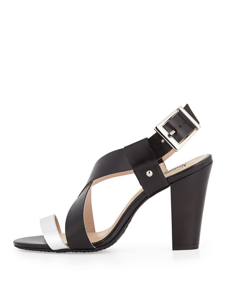 Victoria Two-Tone Cross-Front Chunky Sandal, Black/Silver