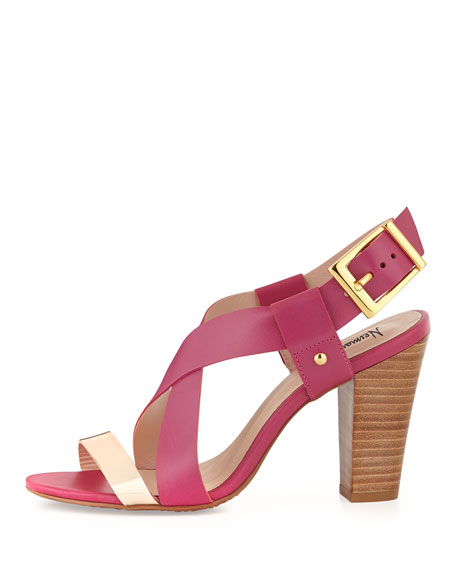 Victoria Two-Tone Cross-Front Chunky Sandal, Fuchsia/Gold