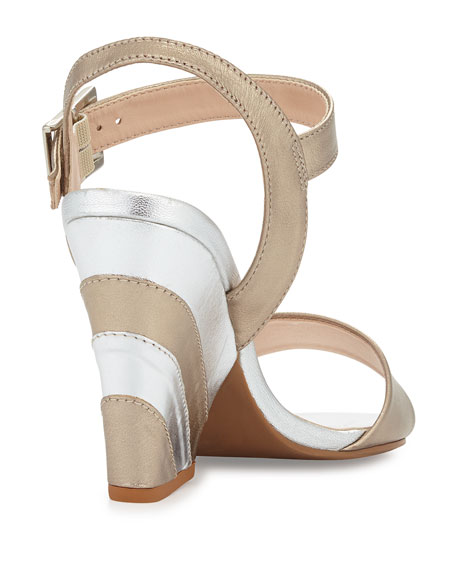 Lourdes Striped Heel Sandal, Gold/Silver