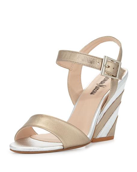 Neiman Marcus Lourdes Striped Heel Sandal, Gold/Silver