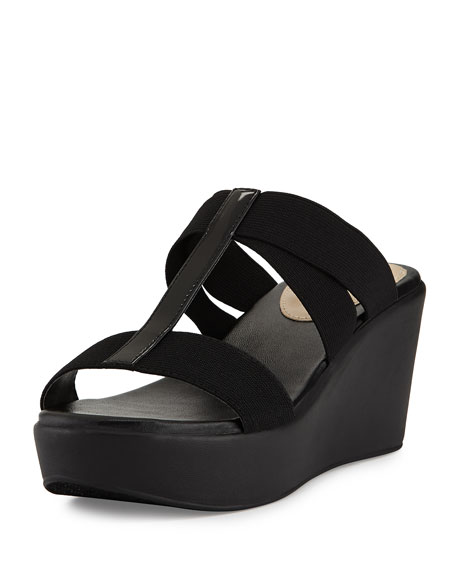 Florence Criss-Cross Slide Wedge, Black