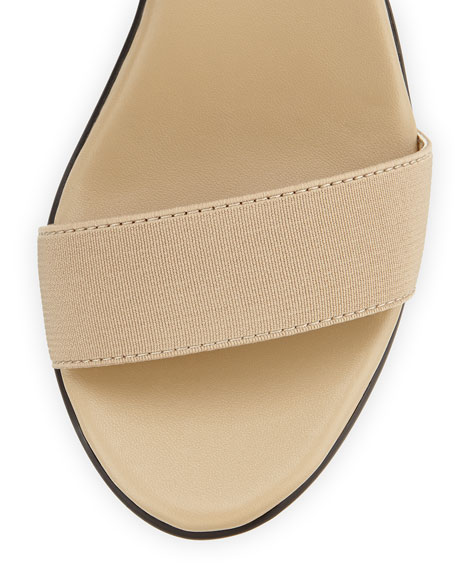 Privy Stretch Ankle-Strap Slide On Sandal, Beige