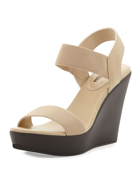 Neiman MarcusPrivy Stretch Ankle-Strap Slide On Sandal, Beige