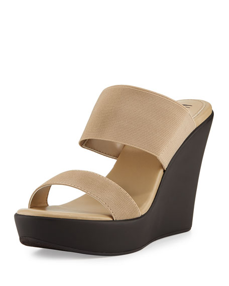Peace Double-Band Slide-On Wedge, Beige