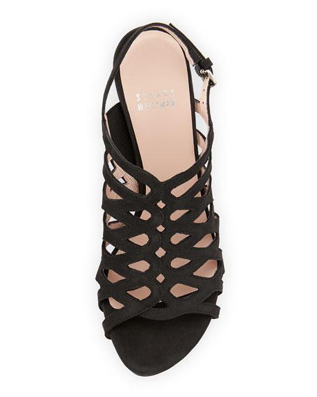 Tuckedin Scalloped Cutout Slingback Sandal, Black