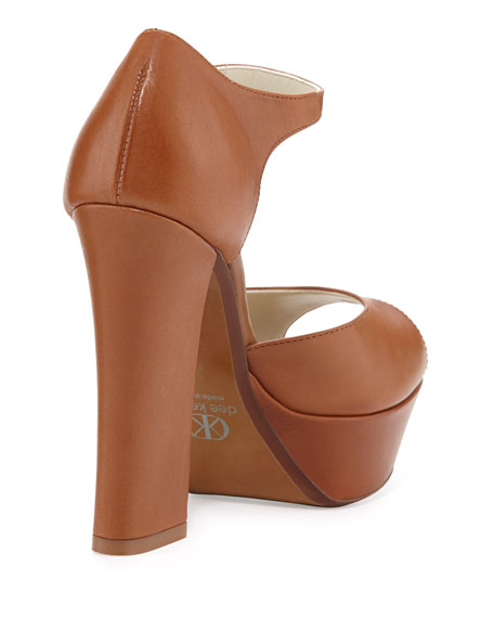 Shelly Peep-Toe Leather Chunky Pump, Saddle