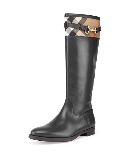 Burberry Check-Top Leather Knee Boot, Black