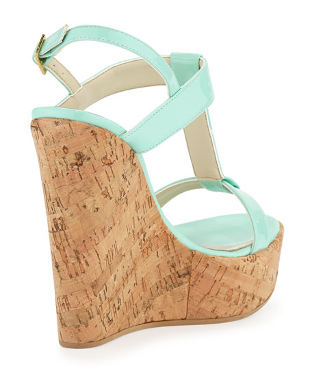 Erin Cork Leather Wedge, Mint