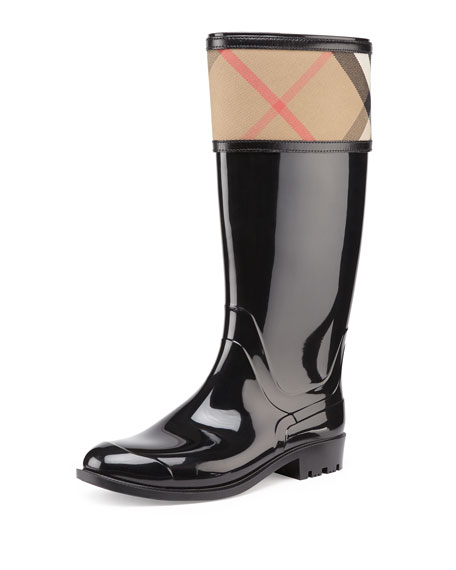 Burberry Check-Cuff Rubber Rain Boot, Black