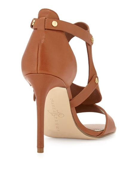 Marid Studded Oval Strappy Sandal, Saddle