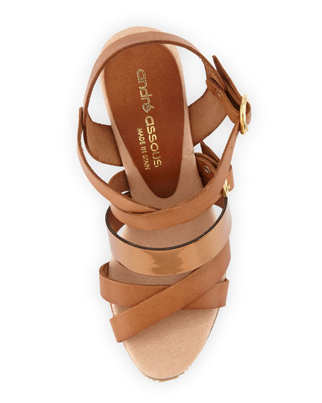 Jenny Mixed-Leather Wedge Sandal, Bronze
