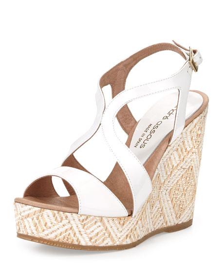 Johannam1 Patent Woven-Wedge Sandal, White