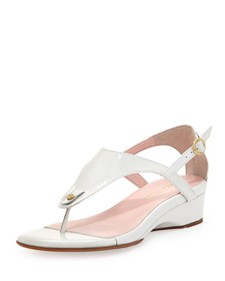 Kat Patent Leather Strappy Sandal, White