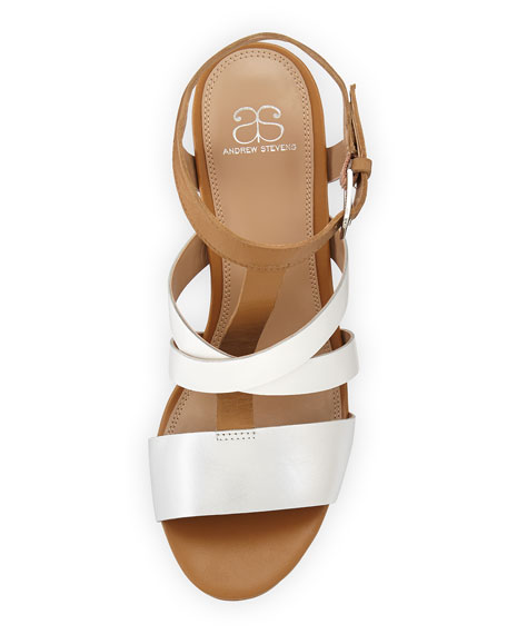 Annabelle Strappy Metallic Leather Sandal, Camel/White/Silver