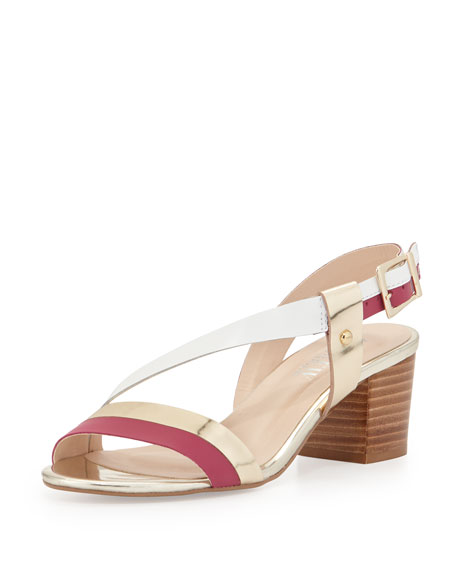 Sofia Metallic Leather Chunky Sandal, Gold/Pink/White