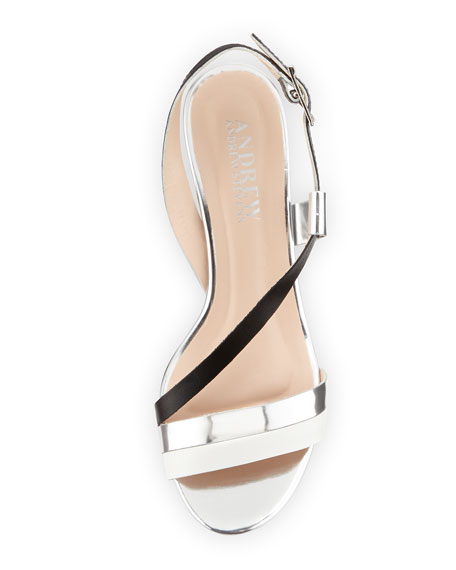 Sofia Asymmetric Strap City Sandal, Black/Silver/White