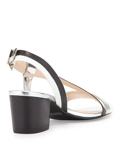 Sofia Asymmetric Strap City Sandal, Black/Silver/White