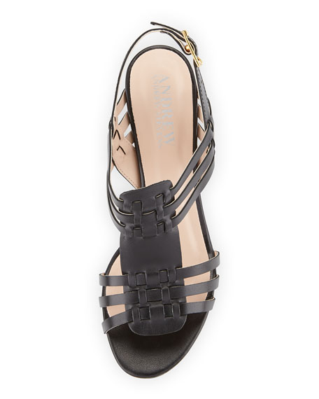 Catalina Woven Leather Sandal, Black