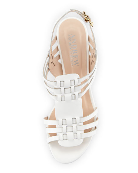 Catalina Woven Leather Sandal, White