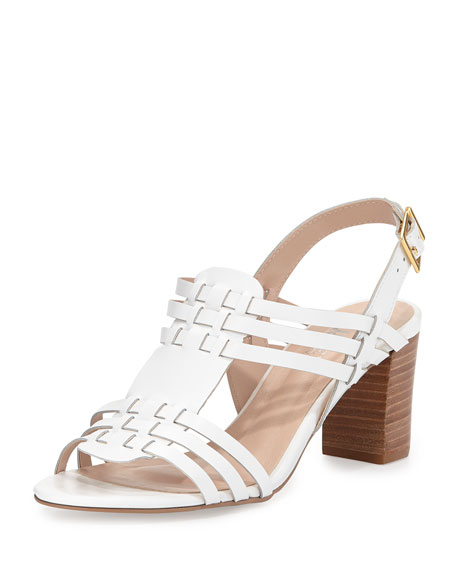 Andrew Stevens Catalina Woven Leather Sandal, White
