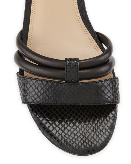 Tina Snake-Print Leather Strappy Sandal, Black