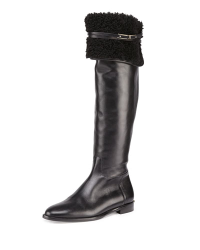 Burberry Cuffed Leather Over-the-Knee Boot, Black