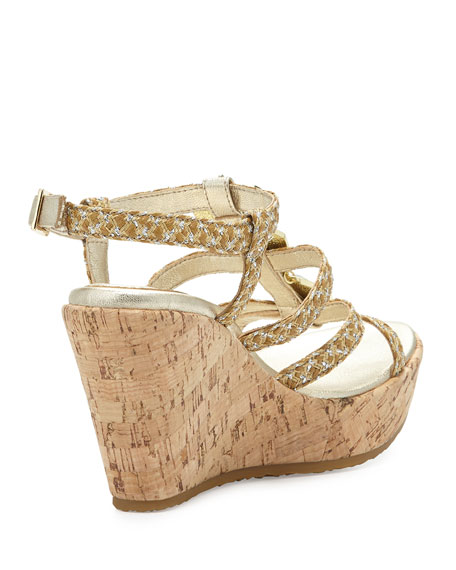 EJ Stone Cork Wedge Sandal, Natural Frost