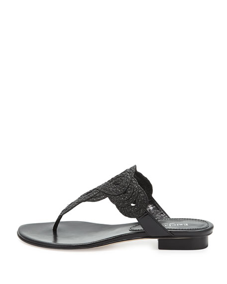Yanna Braided Thong Sandal, Black