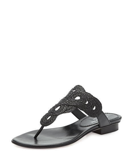 Eric JavitsYanna Braided Thong Sandal, Black