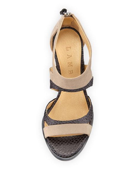 Follie Mixed-Media Sandal, Light Gray/Tan