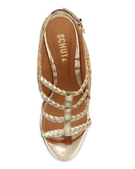 Beatrice Metallic Braided Wedge Sandal, Platina