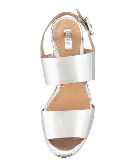 Fankia Metallic Spechio Wedge Sandal, Prata