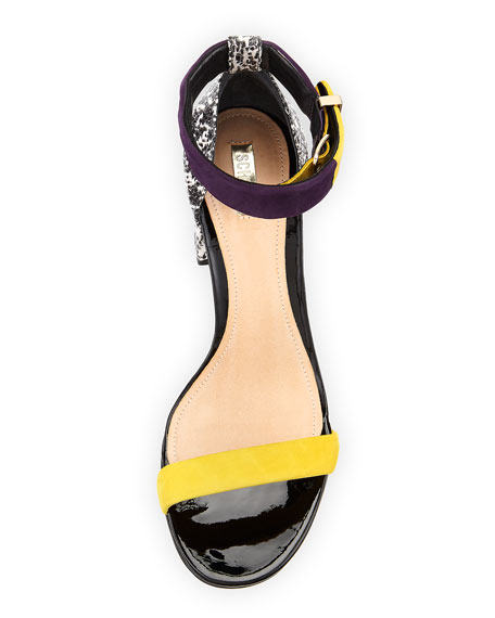 Ensa Colorblock Chunky Sandal, Canario/Acai/Natural