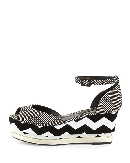 Doaa Zigzag Flatform Wedge, Black/White