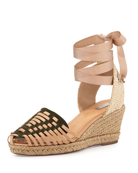 Schutz Isadora Ankle-Wrap Wedge, New Military