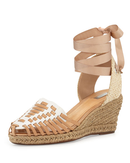 Schutz Isadora Ankle-Wrap Wedge, Pearl