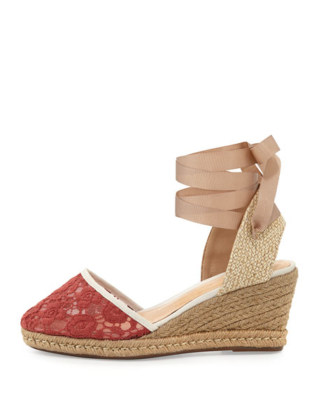 Athena Lace-Jute Almond Espadrille Wedge, Papagalo
