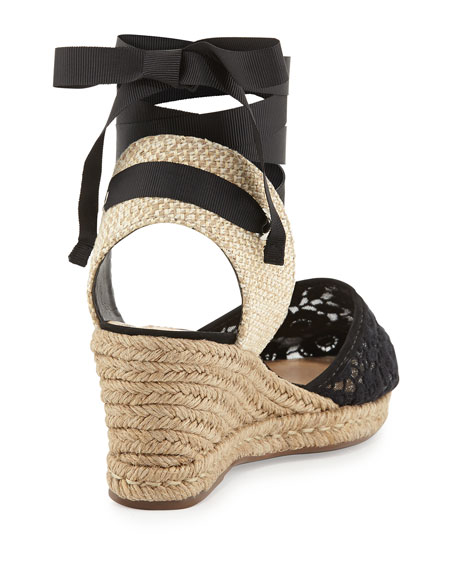 Athena Lace-Jute Almond Espadrille Wedge, Black