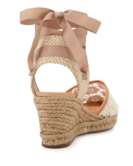 Athena Lace-Jute Almond Espadrille Wedge, Lightwood