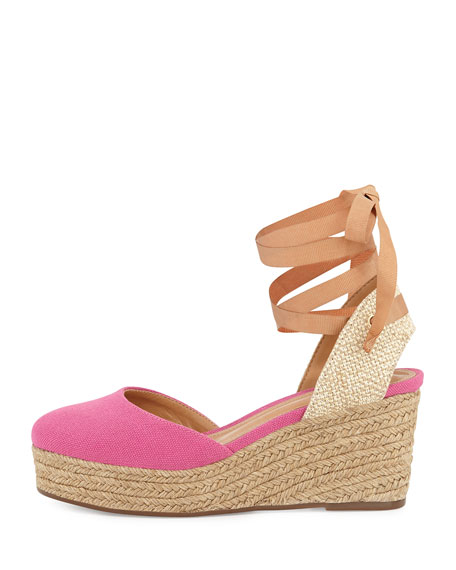 Caysey Jute/Canvas Espadrille Wedge, Fuchsia Rose