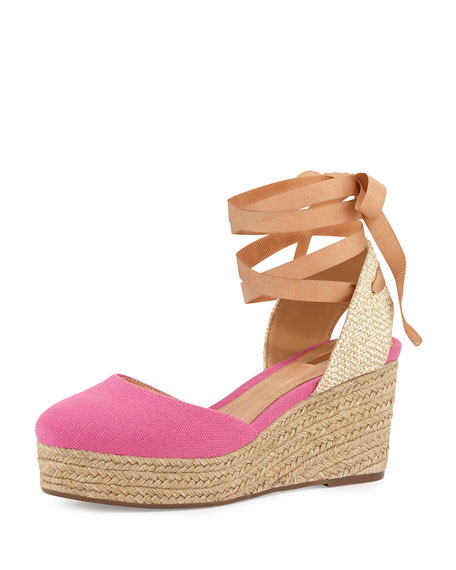 Schutz Caysey Jute/Canvas Espadrille Wedge, Fuchsia Rose