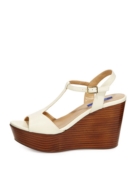 Stephanie Leather T-Strap Wedge Sandal, Cream