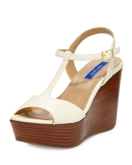 Dee Keller Stephanie Leather T-Strap Wedge Sandal, Cream