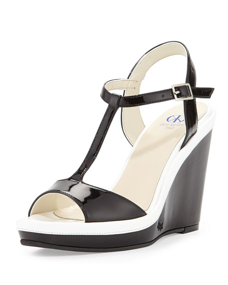 Deanne Patent T-Strap Wedge Sandal, Black/White